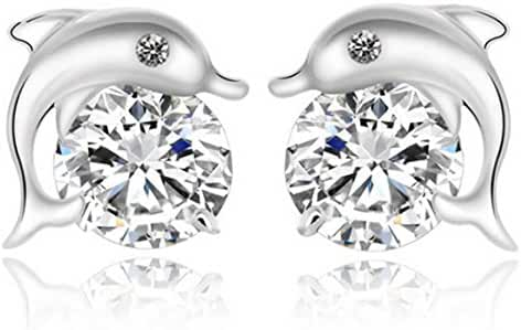 YiYi Operation 925 Sterling Silver Cubic Zirconia Dolphin Stud Earrings Bridal Engagement