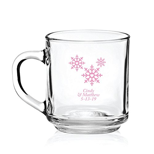 Personalized Color Printed Glass Coffee Mug - Snowflakes - Pink - 24 pack by Abby Smith
