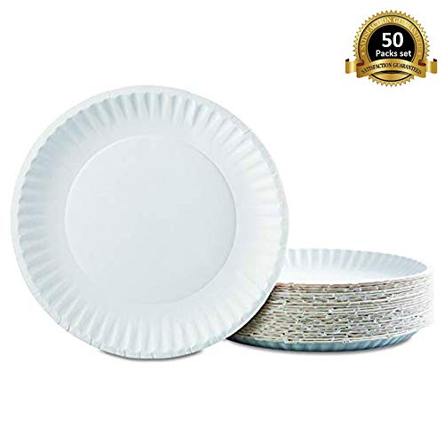 Lependor Disposable plates 50 Pack Everyday Dinnerware Paper Plate - 7-Inch, White