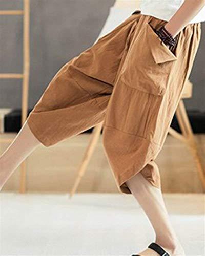 Oversize Pantaloni Solido Corti Coulisse Uomo Pantalone Di 3 4 Completo Colore Capri Kaki Con Tasche Estivi Da SS0qxzU