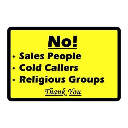 No Salesman Cold Callers Religious Groups Front Door Warning Notice