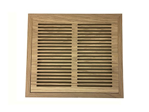 10 Inch x 12 Inch Red Oak Hardwood Vent Floor Register Flush Mount with Frame, Slotted Style, (Air Vent Wood Grill)