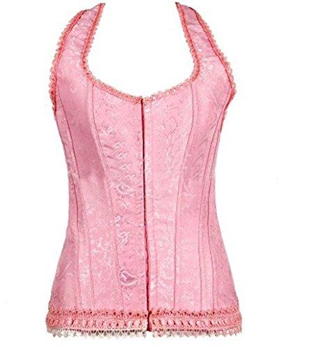 Dantiya Maid Princess Halter Neck Bustier Corset Overbust Lingerie Top (M, Pink)