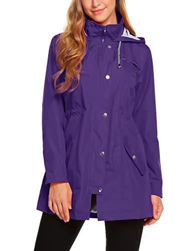 ZHENWEI Womens Lightweight Hooded Waterproof Active Outdoor Rain Jacket Purple XL