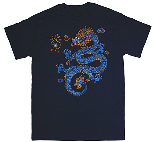 Liberty Graphics Chinese Dragon Adult T-shirt Large Navy