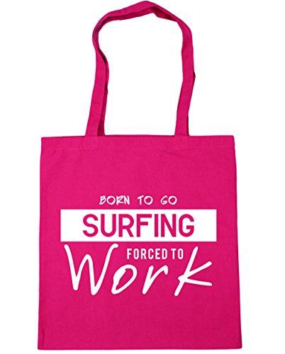 HippoWarehouse Born to go Surf obligado a trabajar bolsa de compras bolsa de playa 42cm x38cm, 10litros fucsia