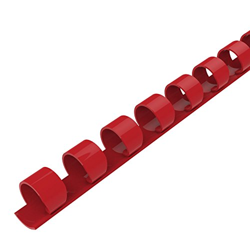 Rayson CR-12-100-R Plastic Binding Combs 21-Ring, 1/2in, 90-Sheet(80gsm 20lb) Capacity, Red Comb Binding Ring, Max. Binding A4 Size Paper (8.3 x 11.7inches) Box of 100
