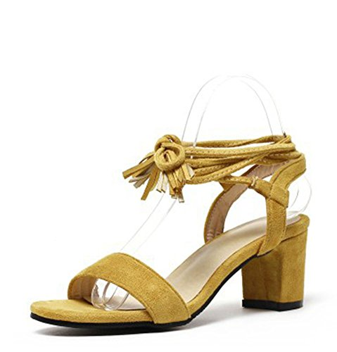 Easemax Womens Fringes Faux Suede Mid Chunky Heel Open Toe Self Tie Styilsh Sandals Yellow Kl8EEpY