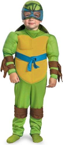 [Teenage Mutant Ninja Turtles Leonardo Muscle Costume, Green/Brown/Blue, Small (2T)] (Cartoon Character Costumes Male)