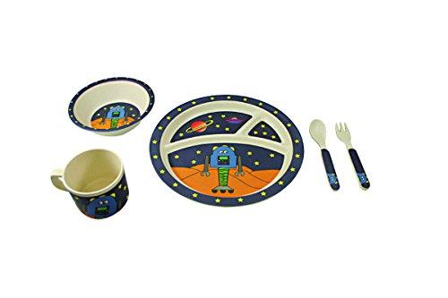 EcoBamboo Ware Kids Bamboo Dinnerware Set, Link The Robot, 5 Count