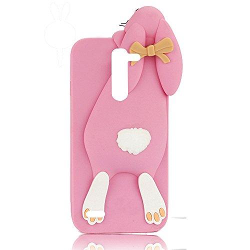 Sunroyal®para LG L Prime D337 / L Bello D337 Silicona Rosa Suave Funda Case Cáscara Carcasa Caso Lindo Shell Dientes Divertido Animados Lindo Arco Conejo Rabbit Premium TPU Parachoques Resistente al A Color2
