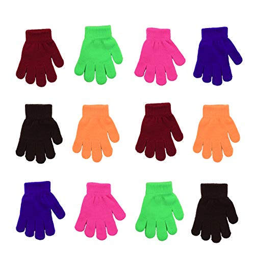 Childrens Magic Gloves (12 Pairs Children Winter Magic Gloves Magic Knit Gloves One Size Warm Gloves for Boys and Girls)