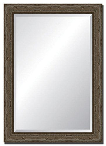 """Tangletown Fine Art Wall Mirror with Distressed Light Brown Driftwood Style Frame. 30"""" x42 from Tangletown Fine Art"""