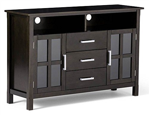Simpli Home 3AXCRIDTVS Kitchener Solid Wood Tall TV Media Stand in Dark Walnut Brown  For TVs upto 58 inches -