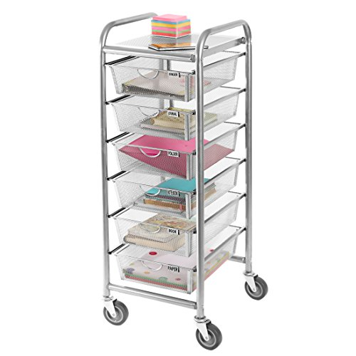 Seville Classics WEB488 6-Drawer Steel Mesh Organizer Cart,