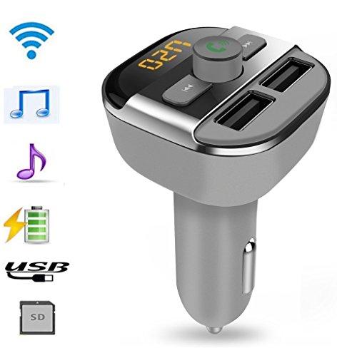 Extenstion Kit (Bluetooth Car Kit FM Transmitter, Kinnara Wireless Bluetooth FM Modulator Car Radio Adapter with LED Display, Dual USB Output, MP3 Player Support U Disk & Micro SD (Classic-Gray))