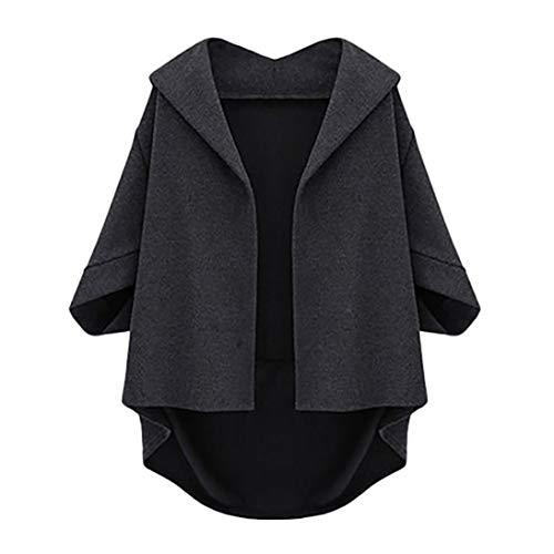 Pervobs Coat&Jacket, Clearance! Womens Solid Swing Autumn Bat Cropped Sleeves Irregular Hem Woolen Coat Overcoat Jacket (US:4, Gray) (Track Jacket Cashmere)