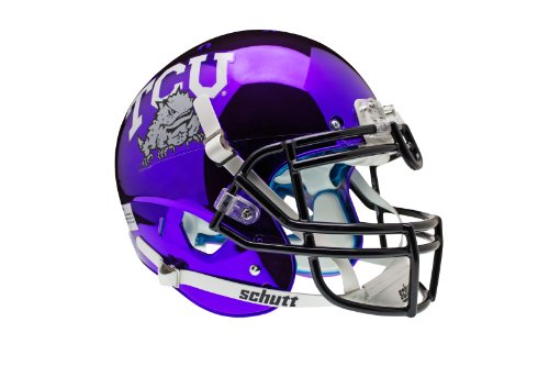 NCAA TCU Horned Frogs Authentic XP Football Helmet, Chrome/Purple by Schutt