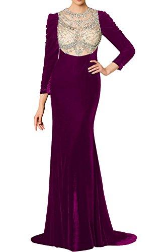 Tuell Ivydressing Promkleider Partykleider Bildfarbe Perlen Elegant Langarm Abendkleider Damen Ballkleider Vintage Samt Rundkragen Lang SfxqfpA