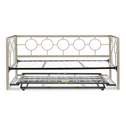 (Leggett & Platt Astoria Complete Metal Daybed with Link Spring Support Frame and Pop-Up Trundle Bed, Champagne Finish, Twin)
