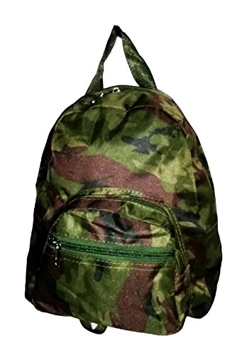 Mini Backpack Purse 11-inch, Zipper Front Pockets Teen Child (Green Camouflage)