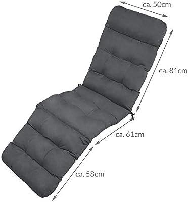 Beautissu cojín colchón para Tumbona Flair DC - 200x50x8 cm con Relleno de gomaespuma - Apto para amacas y sillas de jardín o terraza - Gris Grafito: Amazon.es: Jardín