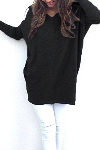 Las Mujeres Suéter De Manga Larga Camisa De Cuello En V Jerseys Sueltos Black