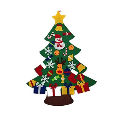 Amosfun Fieltro Árbol de Navidad DIY Árbol de Navidad con Adornos Decoración de la pared con cuerda colgante para niños...