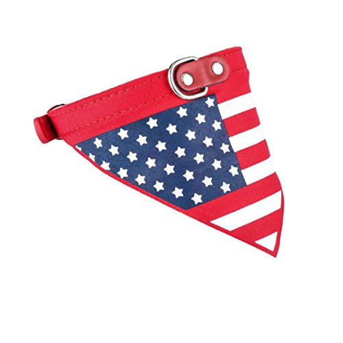 Dog Neckerchief,Wakeu Adjustable USA Flag Jacquard Pet Neck Bandana Collar Scarf for Puppy Cat (M, - Collar Leather American