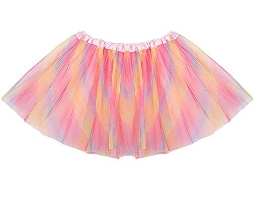 Retro Tutu Skirt Classic Layered Tulle Skirt Multi Color Petticoat Ballet Bubble Skirt Knee Length Party Dress, Multi-color