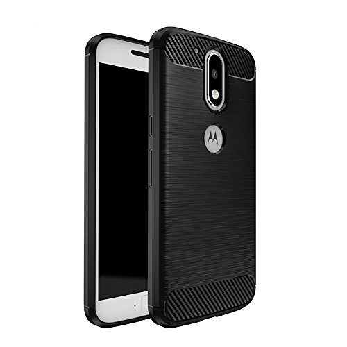 Moto G Play (4th gen.) Case, Rebex [Shockproof] [Wiredrawing Series] Textured Pattern Grip Cover for Motorola Moto G4 Play (2016) (Black)