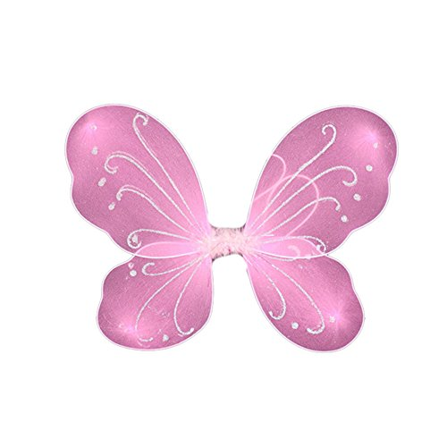 Zeroyoyo Rainbow Butterfly Fairy Wings Fancy Dress Dressing Up Girls Ladies Party Cosplay Costume Makeup Birthday Accessories (Pink)