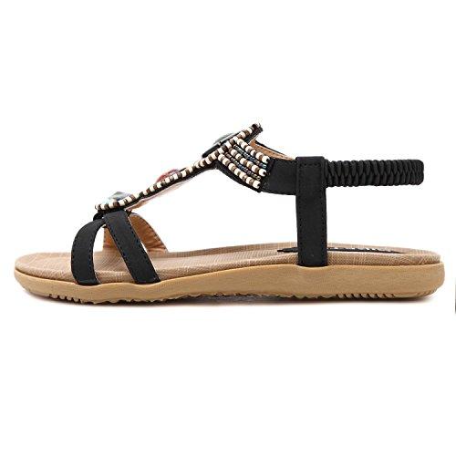 Minetom Mujer Verano Moda Beaded Sandalias Bohemia Anti-deslizante Chanclas Romana Peep Toe Plana Zapatos Zapatillas De Playa Negro