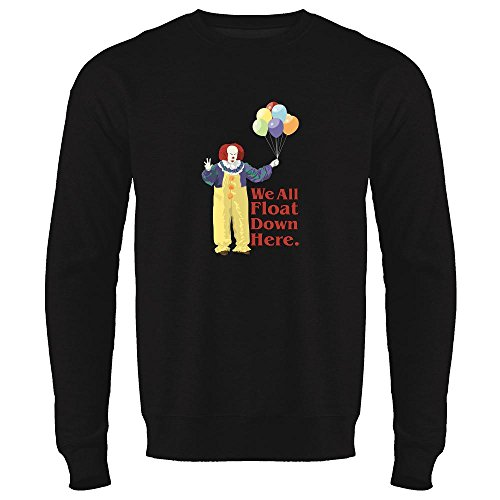 Pop Threads Clown Float Down Here Minimalist Halloween Costume Black S Mens Fleece Crew Sweatshirt -