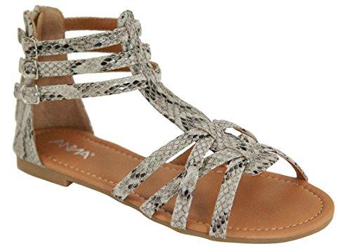 Anna Mavis-7 Mujer Buckle Zip Gladiator Sandal Beige Snake Pu