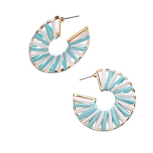 - MEYFANCY Statement Raffia Earrings Hoop Earrings for Women Handmade Colorful Teardrop Boho Earrings (green white-45mm)