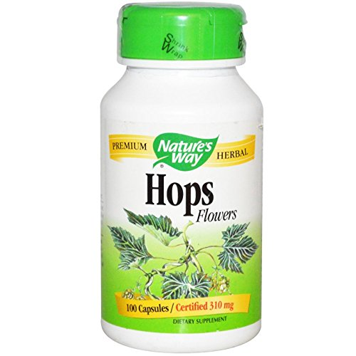 Natures Way Hops Flowers Capsule, 310 Mg - 100 per pack - 6 packs per (Hops Flowers 100 Capsules)