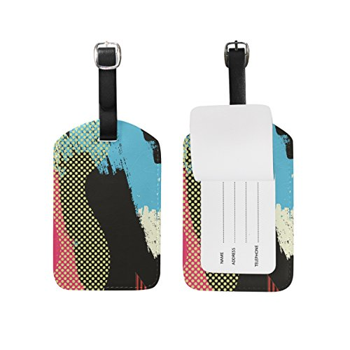 Brush Abstract Leather Travel Tour Luggage Handbag Personalized Tags Card Labels (2pcs) Brush Address Labels
