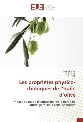 Huile Olive (Les propriétés physico- chimiques de l'huile d'olive: Impact du mode d'extraction, de la durée de stockage et de la zone de culture (French Edition))