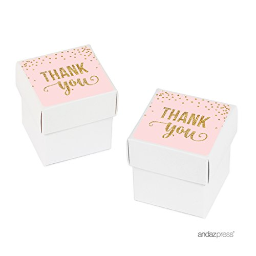 Andaz Press Blush Pink Gold Glitter Girl's 1st Birthday Party Collection, Favor Box DIY Party Favors Kit, Thank You, 20-Pack, Girl Baby Shower Baptism, Christening, Confirmation Decor Personalized Baptism Favor Boxes