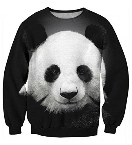 YICHUN mujeres Tops camiseta ocio delgado Sudaderas impresión Pullovers Jersey Casual blusa jerséis Panda 1#