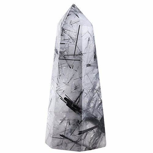 rockcloud Black Rutilated Quartz Healing Crystal Point Faceted Prism Wand Carved Reiki Stone Figurine Crystal Single