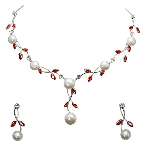 Faship Gorgeous CZ Crystal Freshwater Pearls Floral Necklace Earrings Set - Red (Set And Necklace Red Earring)