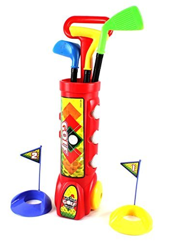 Deluxe Kid's Happy Golfer Toy Golf Set w/ 3 Golf Balls, 3 Types of Clubs, 2 Practice Holes, Perfect Golf Set for Children (Colors May Vary)