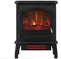 Infrared Quartz Fireplace Stove, Black Warm up any large space on a cold night to create a more comfortable environment with this beautiful infrared quartz stove.