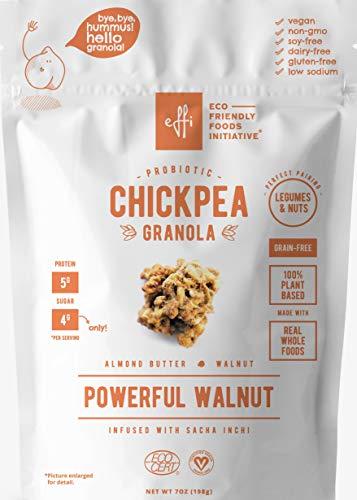 Chickpea Granola Powerful Walnut (2-pack), Organic Grain Free Granola + Probiotics, Breakfast Snack, Nuts & Seeds, Plant Based Protein + Fiber, Gluten Free, Almond Butter, Sacha Inchi 7 oz ()
