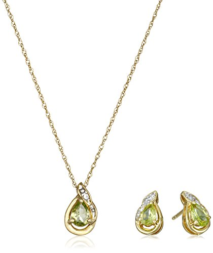 Yellow Gold Plated Sterling Silver Pear Shape Peridot and Created White Sapphire Earrings and Pendant Necklace Jewelry Set by Amazon Collection