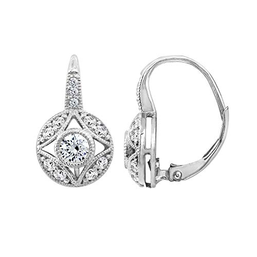(DIAMONBLISS Rhodium Plated Sterling Silver Cubic Zirconia 1 carat Antique Design Leverback Earrings )