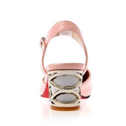PU punta rosa VogueZone009 para mujer sólidas sandalias hebilla en gatito con charol cerrada con punta t8q86xFr