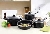 7 Pc Professional Quality Nonstick Carbon Steel Cookware Set - Black